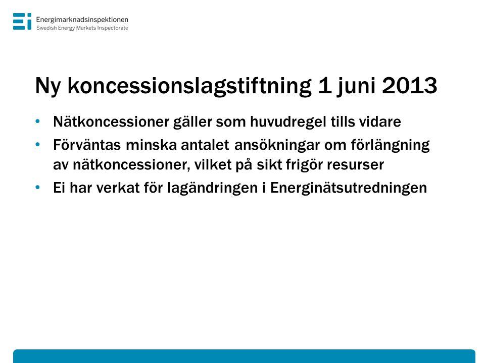 Ny koncessionslagstiftning 1 juni 2013 • Nätkoncessioner gäller som huvudregel tills vidare • Förväntas minska antalet ansökningar om förlängning av n
