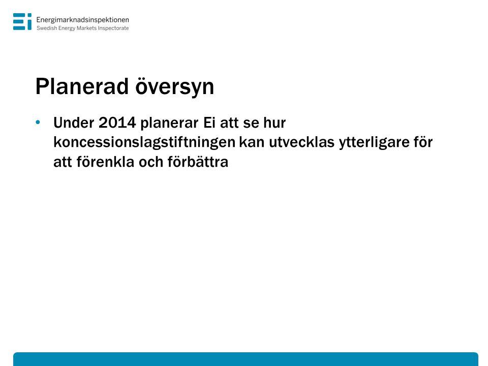 Planerad översyn • Under 2014 planerar Ei att se hur koncessionslagstiftningen kan utvecklas ytterligare för att förenkla och förbättra