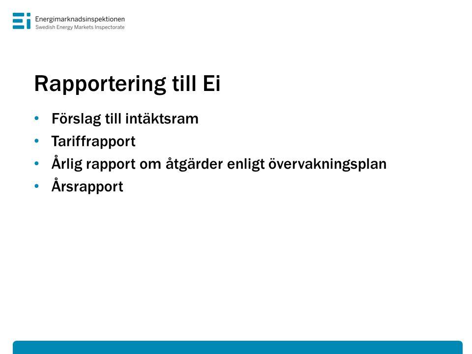 Rapportering till Ei • Förslag till intäktsram • Tariffrapport • Årlig rapport om åtgärder enligt övervakningsplan • Årsrapport