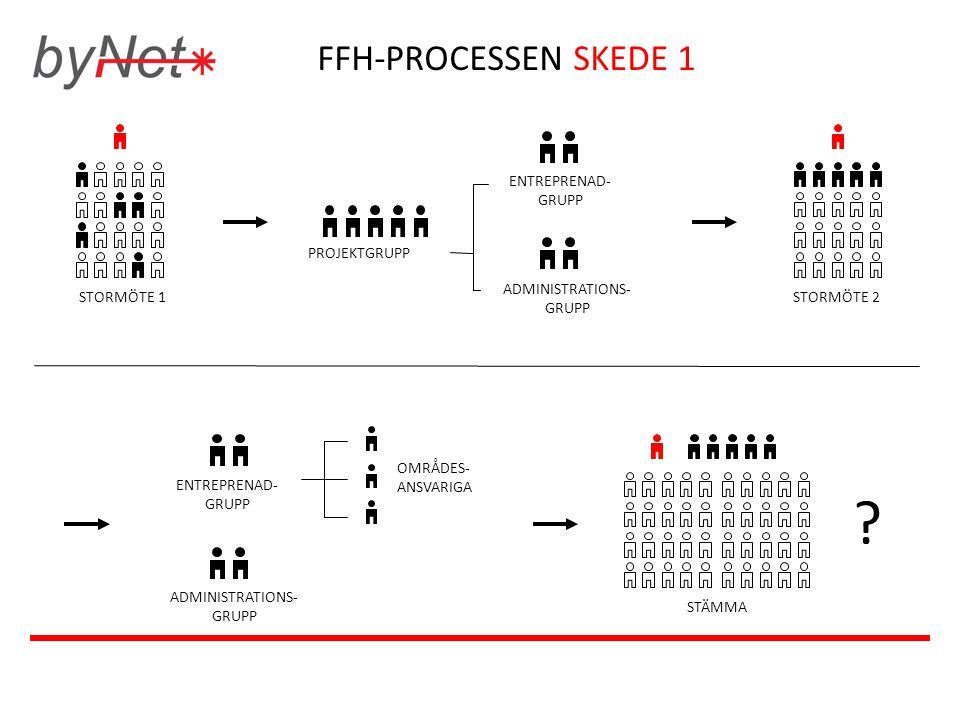 FFH-PROCESSEN SKEDE 1 PROJEKTGRUPP ENTREPRENAD- GRUPP ADMINISTRATIONS- GRUPP STORMÖTE 1STORMÖTE 2 ENTREPRENAD- GRUPP ADMINISTRATIONS- GRUPP STÄMMA OMR