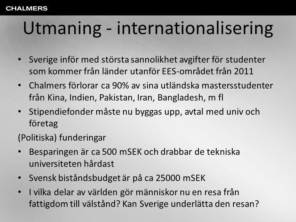 Utmaning - internationalisering • Sverige inför med största sannolikhet avgifter för studenter som kommer från länder utanför EES-området från 2011 •