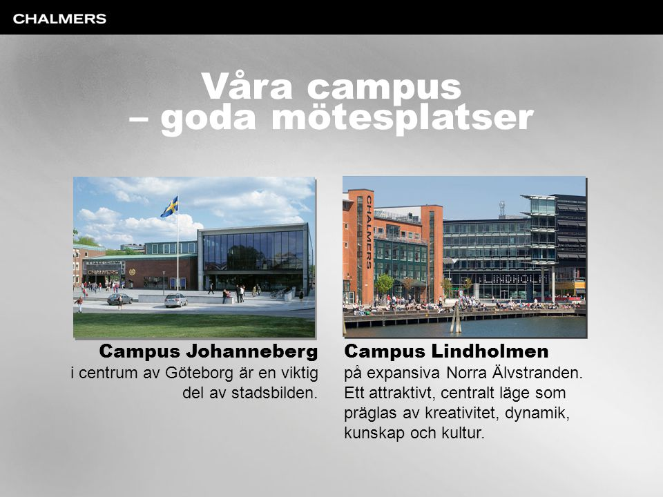 Våra campus – goda mötesplatser Campus Johanneberg i centrum av Göteborg är en viktig del av stadsbilden. Campus Lindholmen på expansiva Norra Älvstra