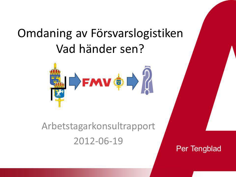 Effekter och konsekvenser  Tydligare relation mellan beställare och utförare  Annan uppgiftsfördelning FM/FMV påverkar FMV SML/AK, HKV/FMLOG/TeKMaK  Resursöverföring till FMV framförallt, samtidigt med rationalisering (130 MSEK/212 årsarb)  Organisationsförändringar inom såväl FM (Högkvarteret) som FMV – sannolikt 2014  Förändrade kompetenskrav och arbetssätt