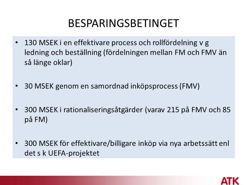 BESPARINGSBETINGET • 130 MSEK i en effektivare process och rollfördelning v g ledning och beställning (fördelningen mellan FM och FMV än så länge okla
