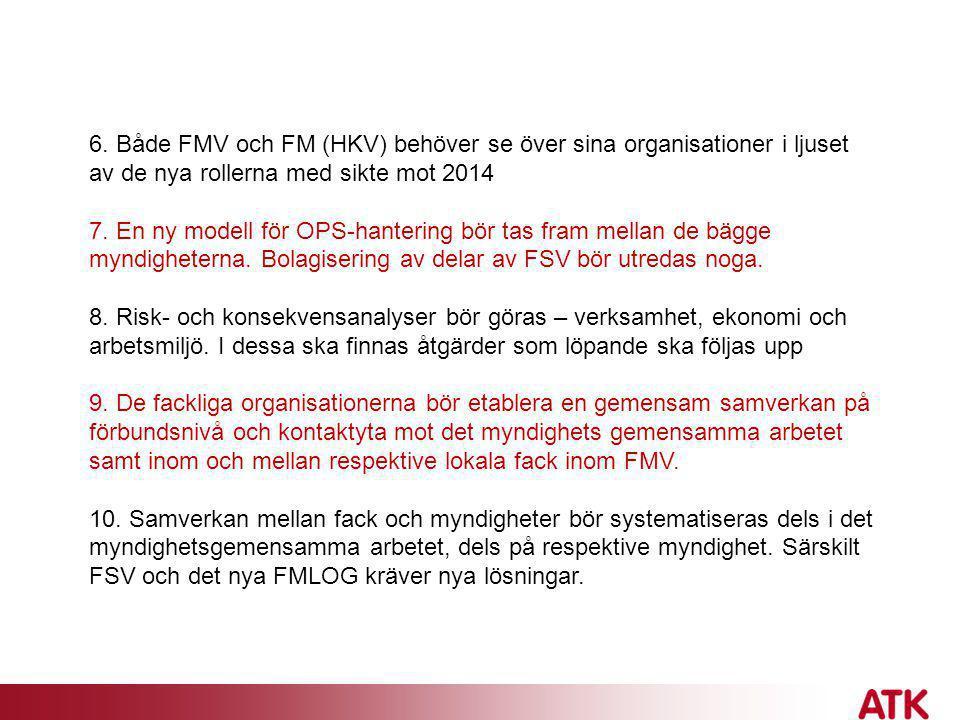 6. Både FMV och FM (HKV) behöver se över sina organisationer i ljuset av de nya rollerna med sikte mot 2014 7. En ny modell för OPS-hantering bör tas
