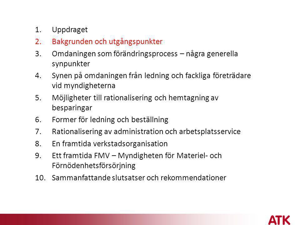 SLUTSATSER • FMV en helt ny myndighet med tungt ansvar för försvarslogistiken • Många viktiga frågor i etableringen av FSV återstår, inte minst en målbild och rationaliseringsplan 2013/14 - stor utmaning att integrera FSV i FMV, organisatoriskt, praktiskt, kulturellt • Samverkan mellan inköpsorganisationerna bör påbörjas så snart som möjligt • Nya lednings- och beställningsformer kommer att påverka hela FMV • Viktigt att hitta ett balanserat utvecklingsarbete - en helt ny organisation behöver sannolikt vara på plats till 2014 • Kulturfrågorna måste hanteras – dels i integreringen av FSV dels i det nya systemet med ledning och beställning • Besparingskraven behöver riskbedömas och följas upp - övertalighetshantering planeras
