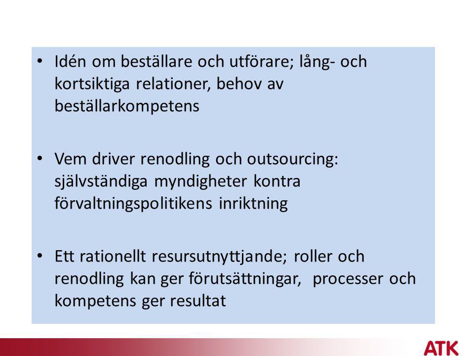 • Idén om beställare och utförare; lång- och kortsiktiga relationer, behov av beställarkompetens • Vem driver renodling och outsourcing: självständiga