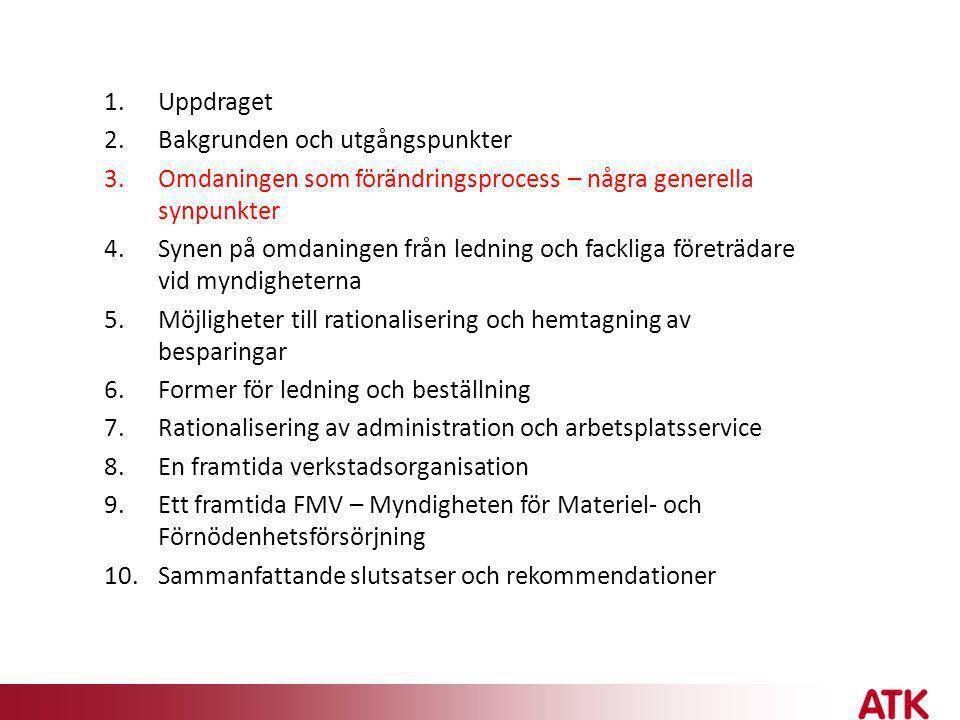 • En utdragen politisk beredningsprocess och sedan ett snabbt genomförande • Positiva faktorer: - en bred politisk uppgörelse (men riskerar tidsplan) - ett myndighetsgemensamt arbete - stegvis genomförande (men i fel ordning) - gediget förberedelsearbete - samverkan med de fackliga organisationerna - parallellitet med IO14/FMORG 13