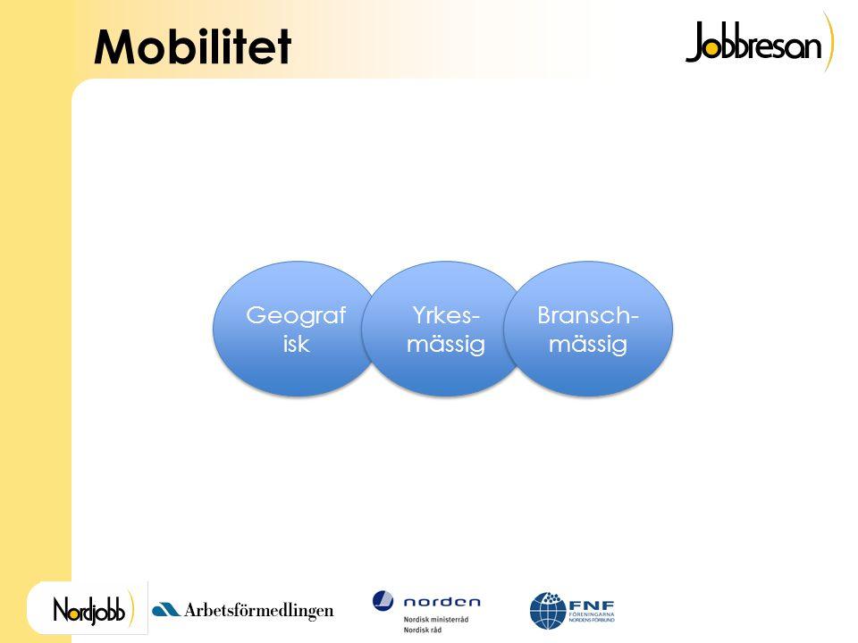 Mobilitet Geograf isk Yrkes- mässig Bransch- mässig
