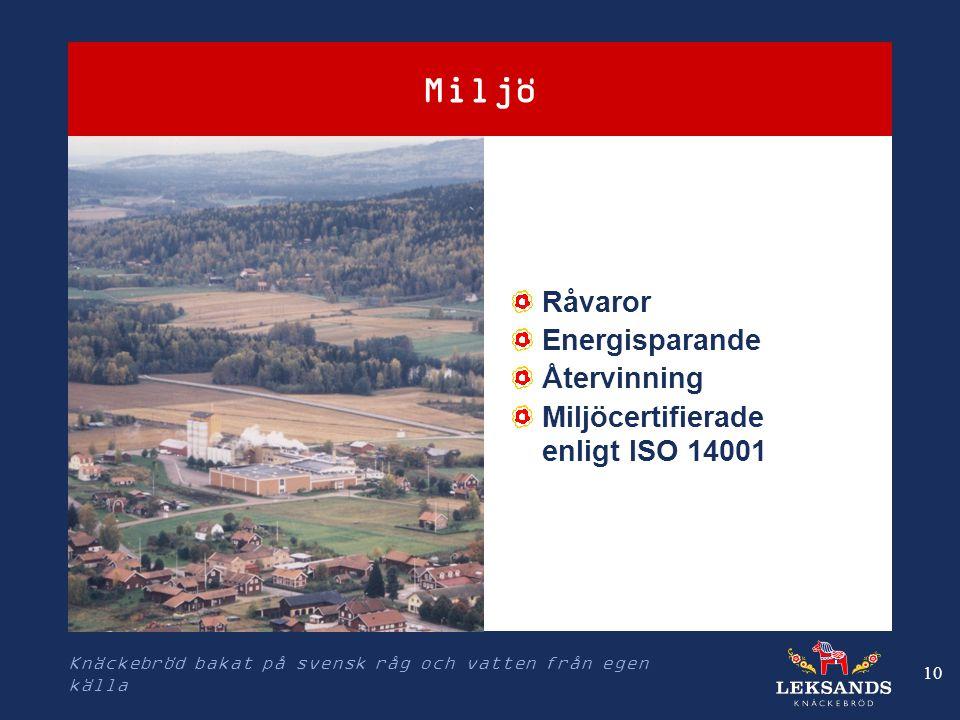 Knäckebröd bakat på svensk råg och vatten från egen källa 10 Miljö Råvaror Energisparande Återvinning Miljöcertifierade enligt ISO 14001 Produktion i