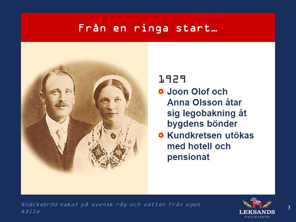 Knäckebröd bakat på svensk råg och vatten från egen källa 3 Från en ringa start… 1929 Joon Olof och Anna Olsson åtar sig legobakning åt bygdens bönder