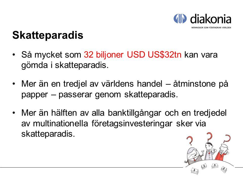Skatteparadis •Så mycket som 32 biljoner USD US$32tn kan vara gömda i skatteparadis.