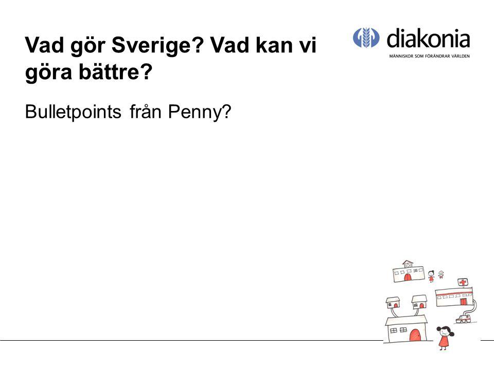 Vad gör Sverige Vad kan vi göra bättre Bulletpoints från Penny