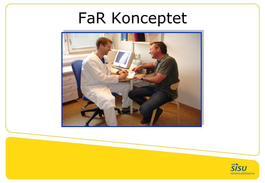 Två nivåer 1.FaR Träningsställe •Dagens krav enligt överenskommelsen 2.Diplomerad FaR-aktör och FaR Träningsställe För att uppgradera sig till detta krävs: •Träningsupplägg efter diagnos/recept med uppföljningsplan och coachning ska erbjudas •Ledaren som coachar/tränar motionären ska ha gått FaR-ledarutbildning (samma som FaR-träningställe), FYSS-utbildningen samt Samtalsmetodik utbildningen som Landstinget och Sörmlandsidrotten erbjuder.