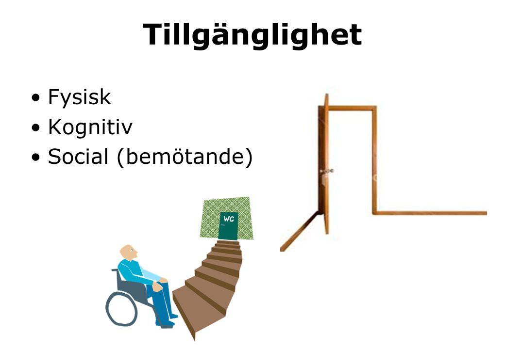 Tillgänglighet •Fysisk •Kognitiv •Social (bemötande)
