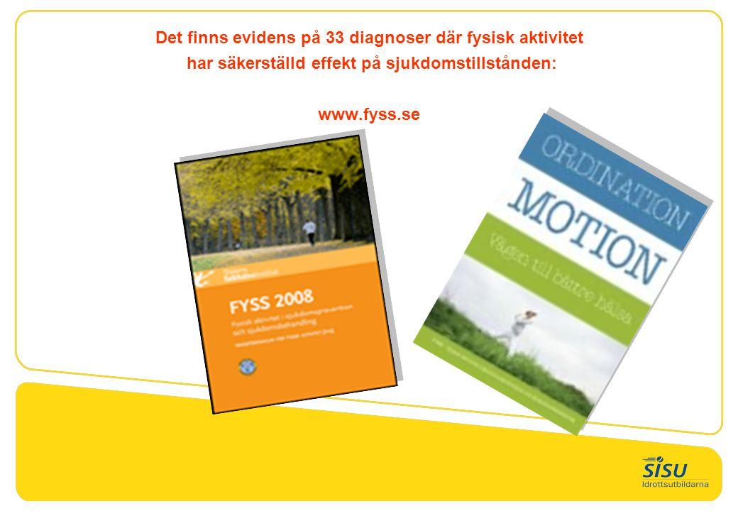 Det finns evidens på 33 diagnoser där fysisk aktivitet har säkerställd effekt på sjukdomstillstånden: www.fyss.se
