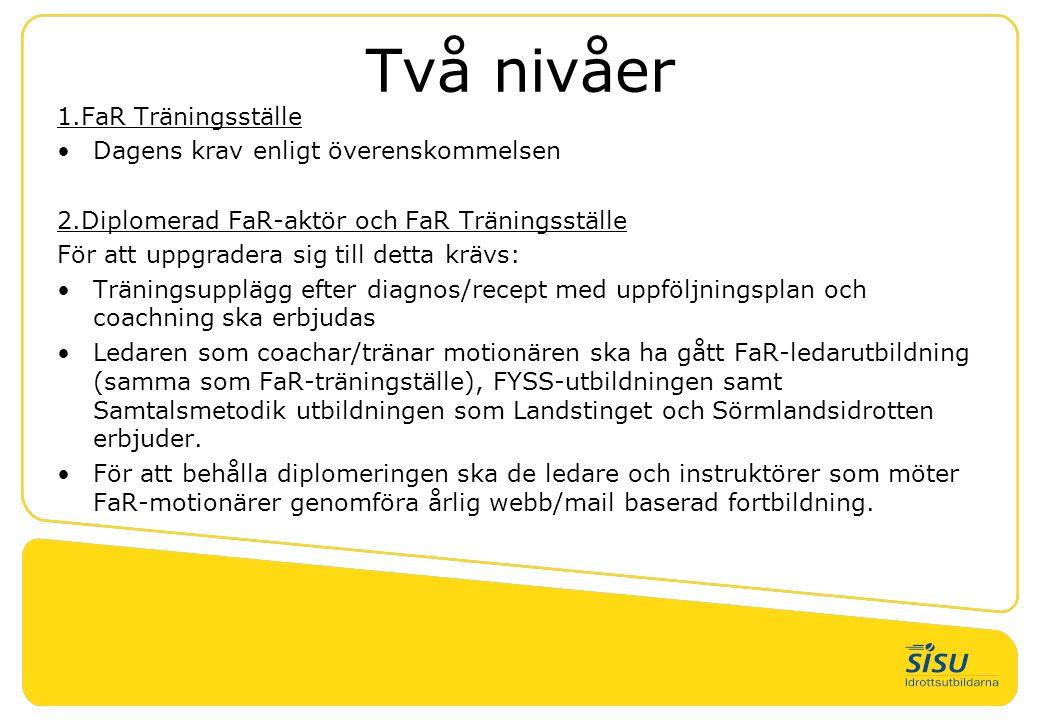 Två nivåer 1.FaR Träningsställe •Dagens krav enligt överenskommelsen 2.Diplomerad FaR-aktör och FaR Träningsställe För att uppgradera sig till detta k
