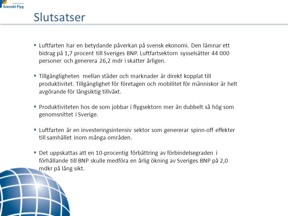  Luftfarten har en betydande påverkan på svensk ekonomi.