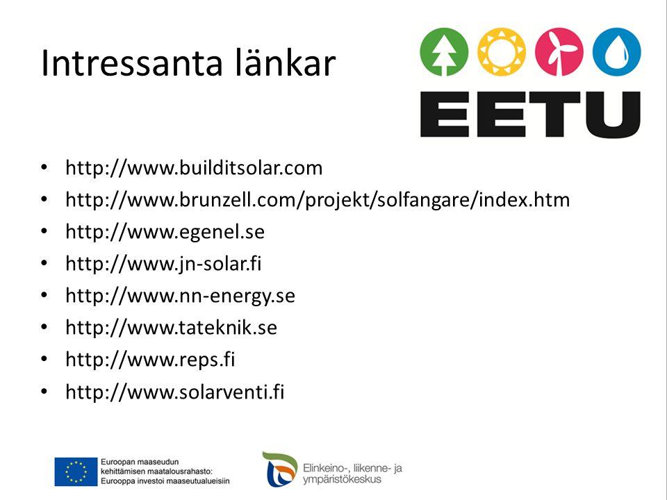 Intressanta länkar • http://www.builditsolar.com • http://www.brunzell.com/projekt/solfangare/index.htm • http://www.egenel.se • http://www.jn-solar.fi • http://www.nn-energy.se • http://www.tateknik.se • http://www.reps.fi • http://www.solarventi.fi