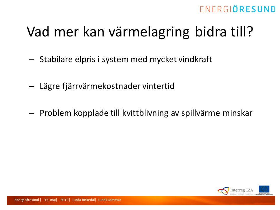 Energi Øresund | 15. maj| 2012| Linda Birkedal| Lunds kommun Vad mer kan värmelagring bidra till.