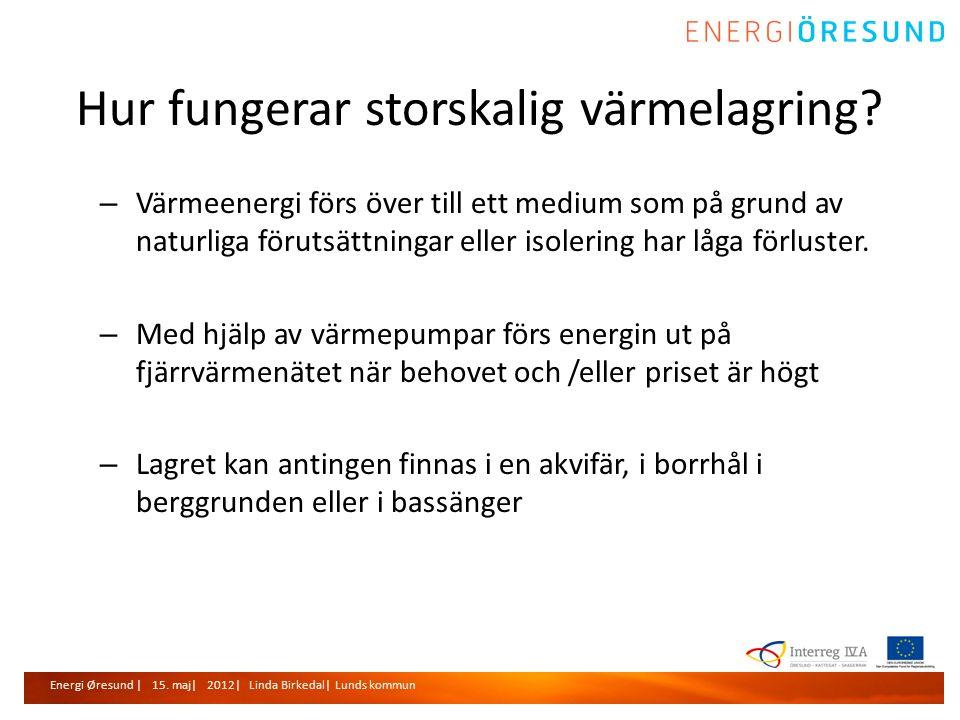 Energi Øresund | 15. maj| 2012| Linda Birkedal| Lunds kommun Hur fungerar storskalig värmelagring.