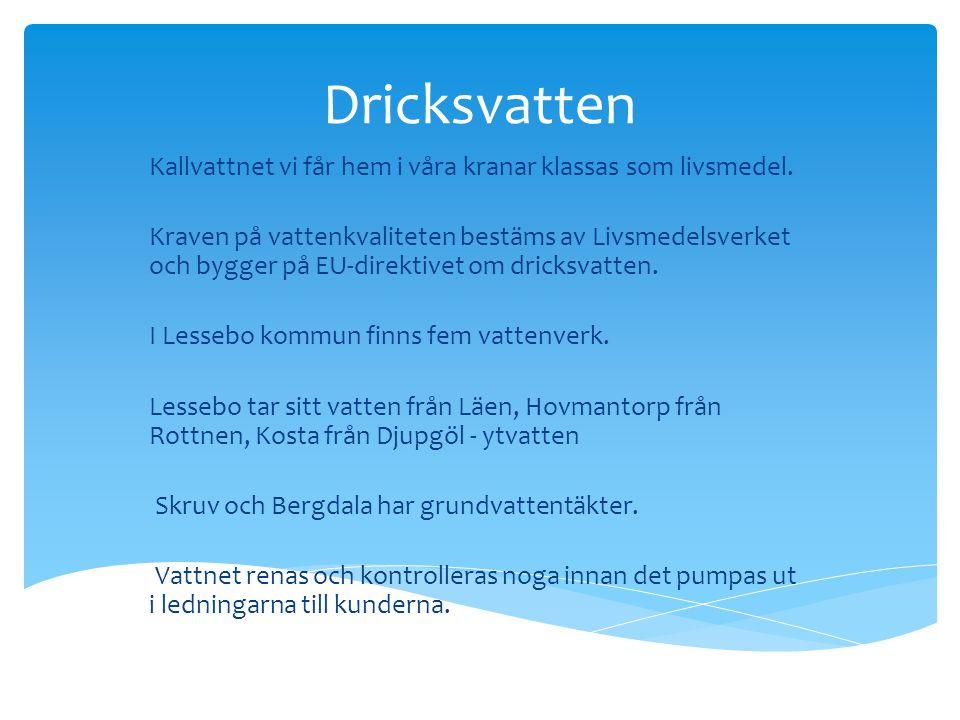 Dricksvatten Kallvattnet vi får hem i våra kranar klassas som livsmedel. Kraven på vattenkvaliteten bestäms av Livsmedelsverket och bygger på EU-direk