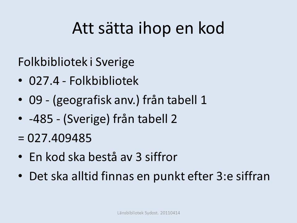 Att sätta ihop en kod Folkbibliotek i Sverige • 027.4 - Folkbibliotek • 09 - (geografisk anv.) från tabell 1 • -485 - (Sverige) från tabell 2 = 027.40