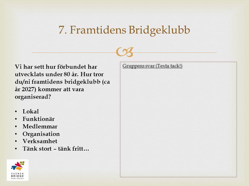  7. Framtidens Bridgeklubb Vi har sett hur förbundet har utvecklats under 80 år. Hur tror du/ni framtidens bridgeklubb (ca år 2027) kommer att vara o