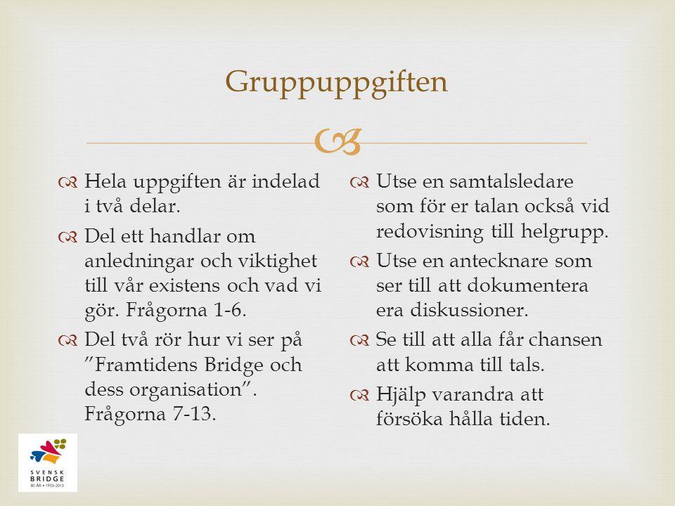  Gruppuppgiften  Hela uppgiften är indelad i två delar.