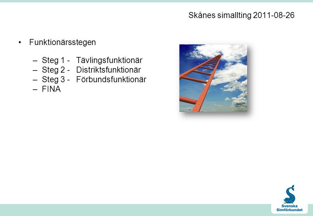 Skånes simallting 2011-08-26 •Funktionärsstegen –Steg 1 -Tävlingsfunktionär –Steg 2 -Distriktsfunktionär –Steg 3 -Förbundsfunktionär –FINA