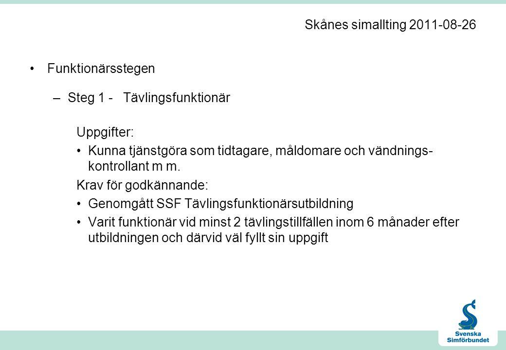 Skånes simallting 2011-08-26 •Funktionärsstegen –Steg 1 -Tävlingsfunktionär Uppgifter: •Kunna tjänstgöra som tidtagare, måldomare och vändnings kontrollant m m.