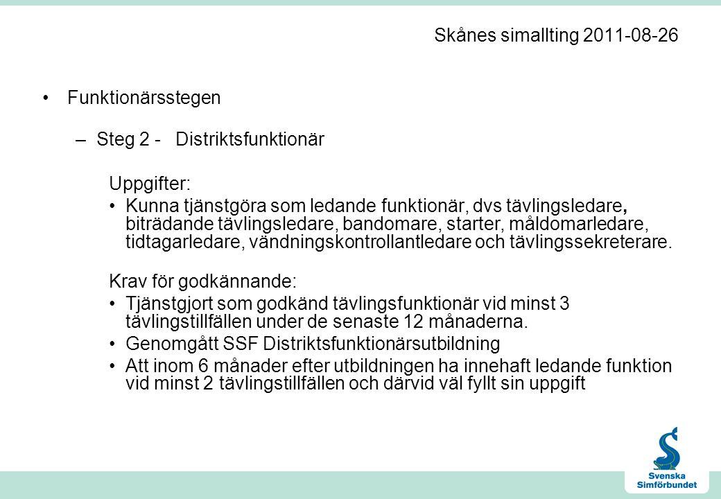 Skånes simallting 2011-08-26 •Funktionärsstegen –Steg 2 -Distriktsfunktionär Uppgifter: •Kunna tjänstgöra som ledande funktionär, dvs tävlingsledare,