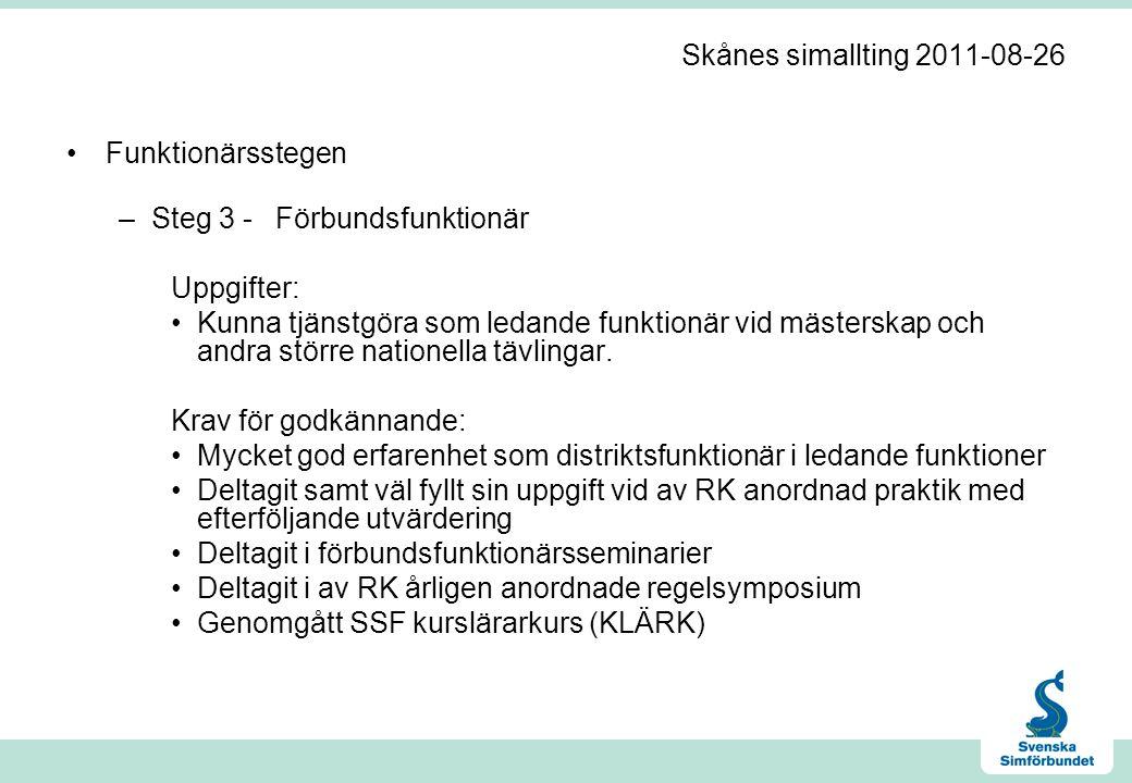 Skånes simallting 2011-08-26 •Funktionärsstegen –Steg 3 -Förbundsfunktionär Uppgifter: •Kunna tjänstgöra som ledande funktionär vid mästerskap och andra större nationella tävlingar.