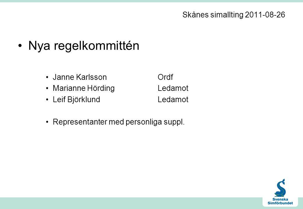 Skånes simallting 2011-08-26 •Nya regelkommittén •Janne KarlssonOrdf •Marianne HördingLedamot •Leif BjörklundLedamot •Representanter med personliga suppl.