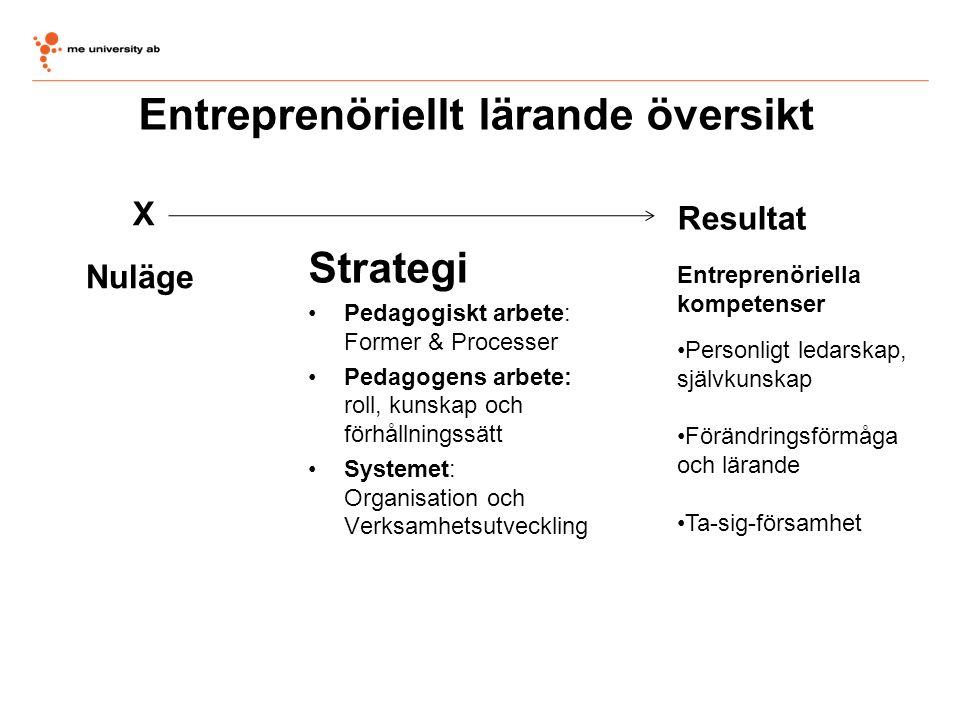 Entreprenöriellt lärande översikt Strategi •Pedagogiskt arbete: Former & Processer •Pedagogens arbete: roll, kunskap och förhållningssätt •Systemet: O