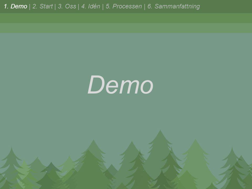 Demo 1. Demo | 2. Start | 3. Oss | 4. Idén | 5. Processen | 6. Sammanfattning
