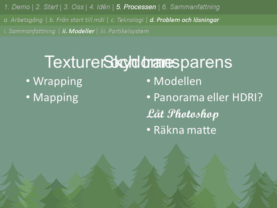 Texturer och transparens • Wrapping • Mapping odellen • Panorama eller HDRI.