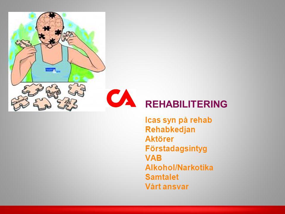 Den sjukskrivna medarbetaren • Ge alla aktörer relevant information • Ge förslag och ta initiativ • Aktivt medverka Rehabiliteringsansvarig chef och HR • Arbetslivsinriktade åtgärder • HR: samordnande och rådgivande roll Företagshälsovården •Expertinstans för insatser som stöder återgång till arbetet för den sjukskrivna personen Sjukvården • Medicinsk rehabilitering Försäkringskassan • Bedöma rätten till sjukpenning • Samordna insatserna kring den sjukskrivna • Vid längre sjukskrivning än 60 dgr har den sjukskrivne rätt till en personlig kontaktperson på FK • Upprätta rehabiliteringsplan Arbetsförmedlingen • Ta över arbetsgivaransvaret när anställning saknas Externa rehabiliteringsaktörer Facklig organisation