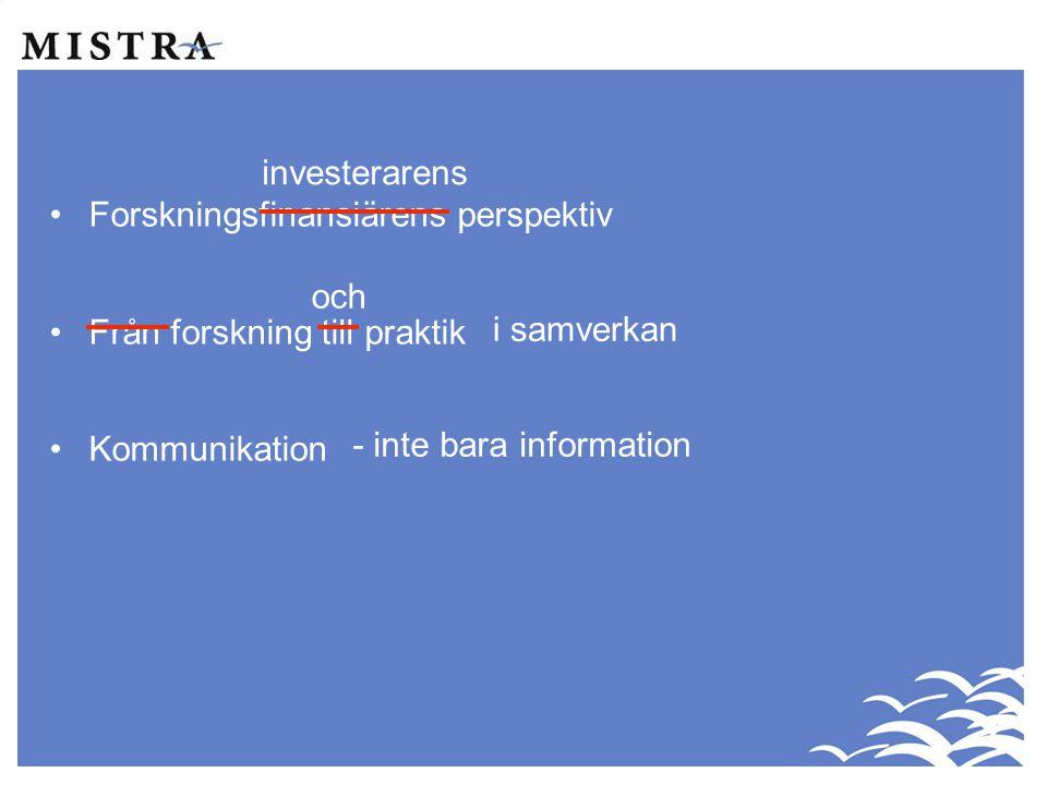•Forskningsfinansiärens perspektiv •Från forskning till praktik •Kommunikation investerarens och i samverkan - inte bara information