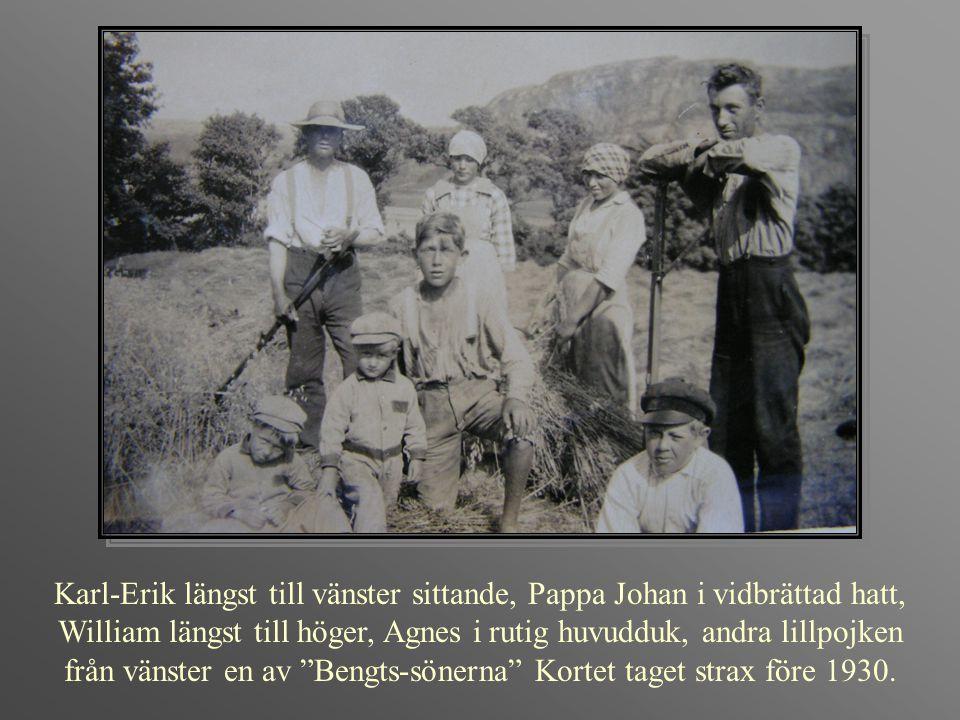 Karl-Erik längst till vänster sittande, Pappa Johan i vidbrättad hatt, William längst till höger, Agnes i rutig huvudduk, andra lillpojken från vänste