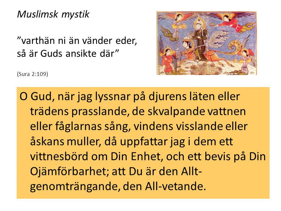 """Muslimsk mystik """"varthän ni än vänder eder, så är Guds ansikte där"""" (Sura 2:109) O Gud, när jag lyssnar på djurens läten eller trädens prasslande, de"""