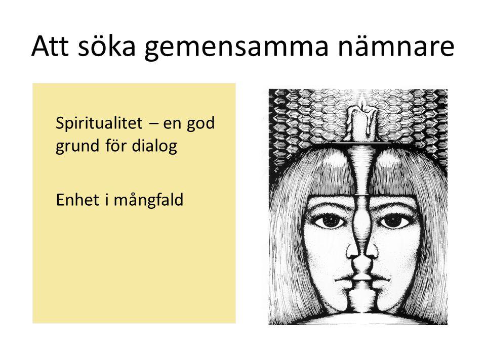 Att söka gemensamma nämnare Spiritualitet – en god grund för dialog Enhet i mångfald