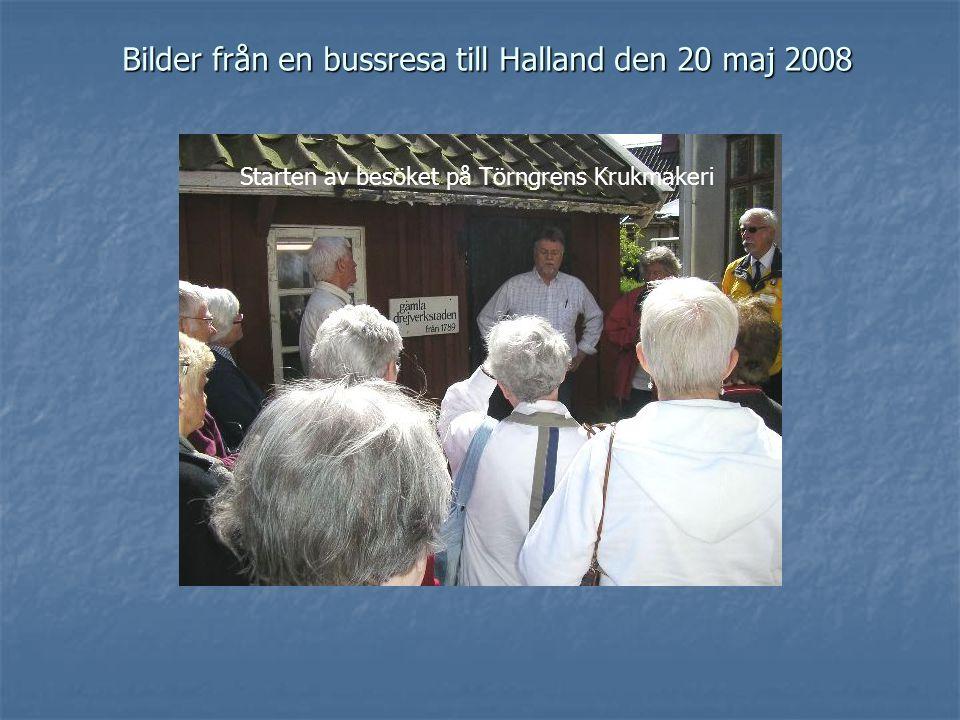 Bilder från en bussresa till Halland den 20 maj 2008 Starten av besöket på Törngrens Krukmakeri
