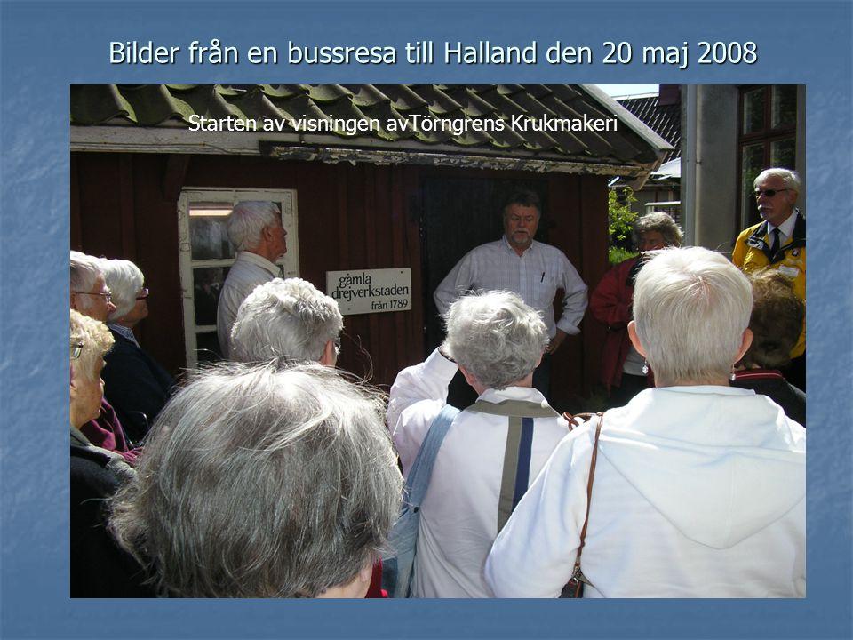 Bilder från en bussresa till Halland den 20 maj 2008 Starten av visningen avTörngrens Krukmakeri