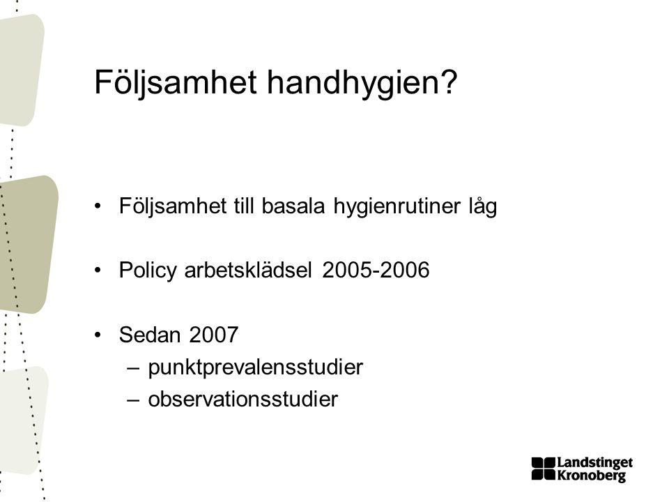 Följsamhet handhygien? •Följsamhet till basala hygienrutiner låg •Policy arbetsklädsel 2005-2006 •Sedan 2007 –punktprevalensstudier –observationsstudi