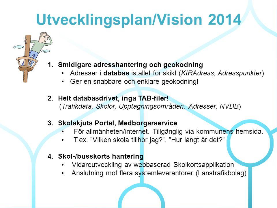 Utvecklingsplan/Vision 2014 1.Smidigare adresshantering och geokodning •Adresser i databas istället för skikt (KIRAdress, Adresspunkter) •Ger en snabbare och enklare geokodning.