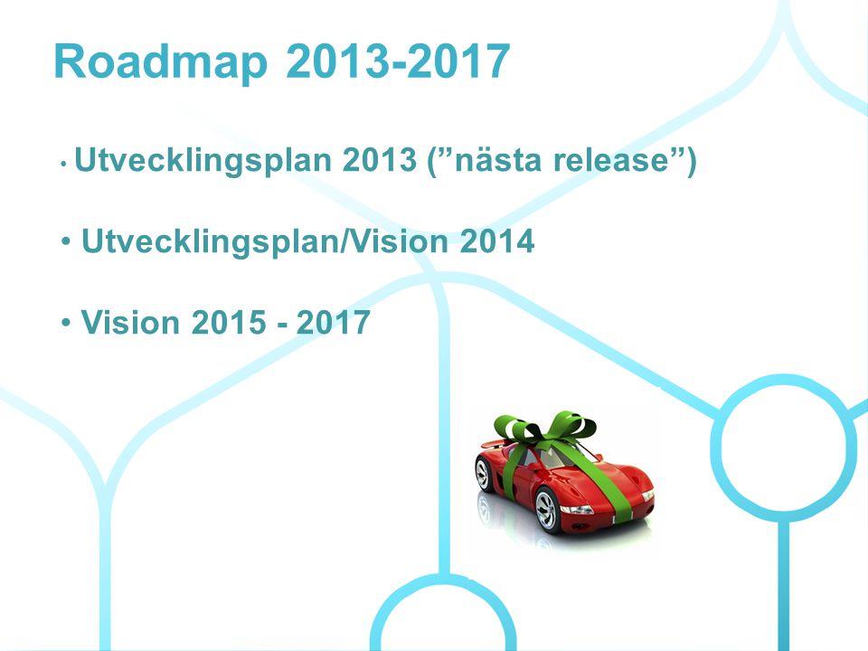 • Utvecklingsplan 2013 ( nästa release ) • Utvecklingsplan/Vision 2014 • Vision 2015 - 2017 Roadmap 2013-2017