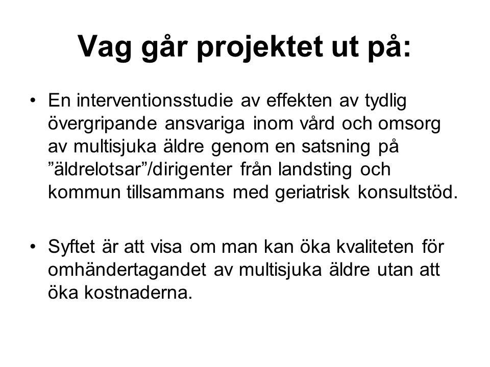 Målgrupp: •Personer 75+ och som under en tolvmånadersperiod har vårdats tre eller fler gånger inom sluten sjukhusvård samt under denna tidsperiod haft diagnoser från tre eller fler olika sjukdomsgrupper (ICD10) som bor hemma vid försöksverksamhetens start och i Norrköping Kommun.