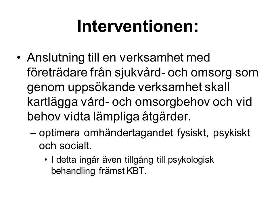 Interventionen: •Anslutning till en verksamhet med företrädare från sjukvård- och omsorg som genom uppsökande verksamhet skall kartlägga vård- och omsorgbehov och vid behov vidta lämpliga åtgärder.