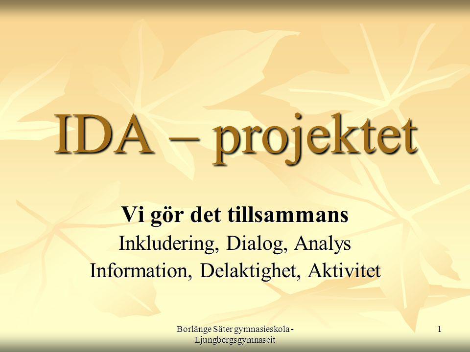 Borlänge Säter gymnasieskola - Ljungbergsgymnaseit 1 IDA – projektet IDA – projektet Vi gör det tillsammans Inkludering, Dialog, Analys Information, Delaktighet, Aktivitet